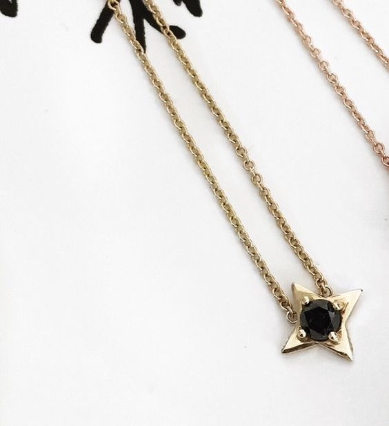 14 k gelb oder Rose Gold Black Diamond star von SaraRoseJean