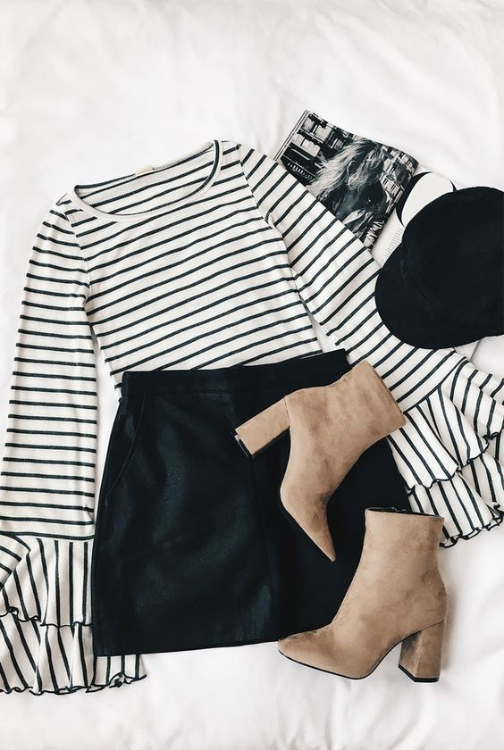 Good Find Grey and White Striped Long Sleeve Top