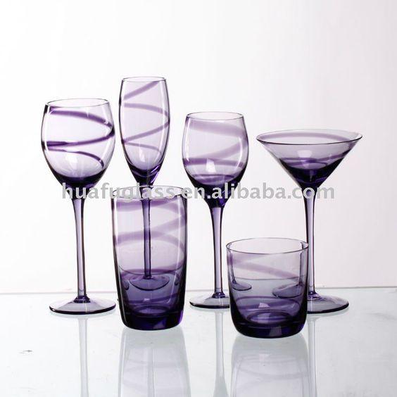 Purple wine glass dinner set