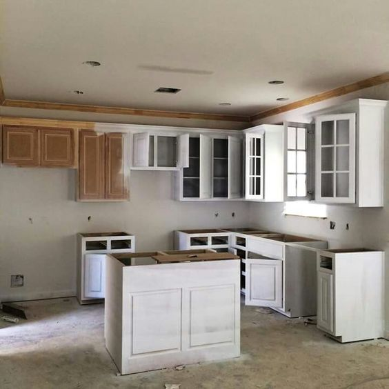 Kitchen makeover - painting the glass cabinets in country white