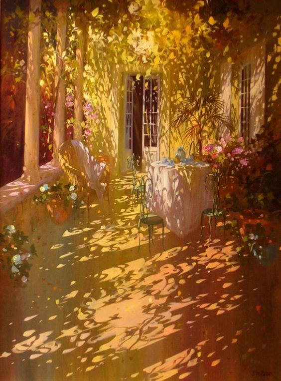 Por Amor al Arte: Un tejido de miles de rayos de sol en la pintura de Laurent Parcelier.