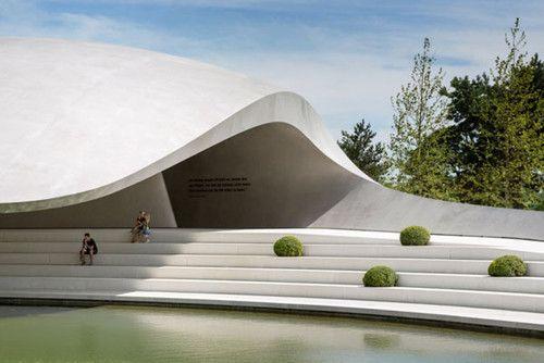 Futuristic Porsche Pavilion, Wolfsburg, Germany, futuristic architecture, HENN Architects, Volkswagen, building, architecture, asymmetrical, Hg Merz Architekten Museumgestalter, futuristic building