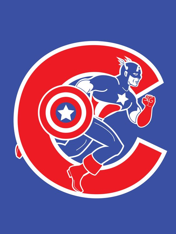 Captain America Meshed With The Chicago Cubs Logo Two