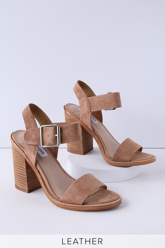 Tan Suede Leather High Heel Sandals