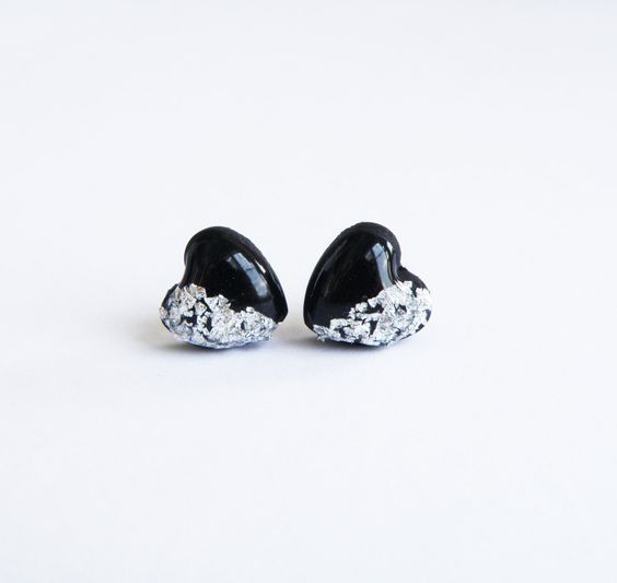 Fashion earrings Black silver heart studs Polymer clay earrings Resin studs with real silver flake Silver Black stud earrings Small earrings by Eternity31 on Etsy https://www.etsy.com/listing/242950350/fashion-earrings-black-silver-heart