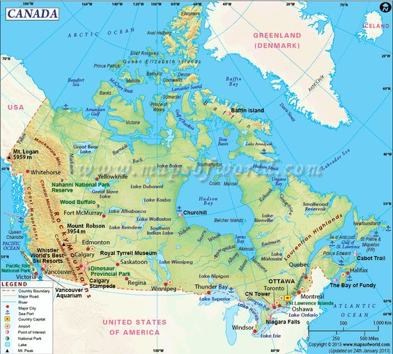 Canada Map Canada located in North America is the second – America and Canada Map