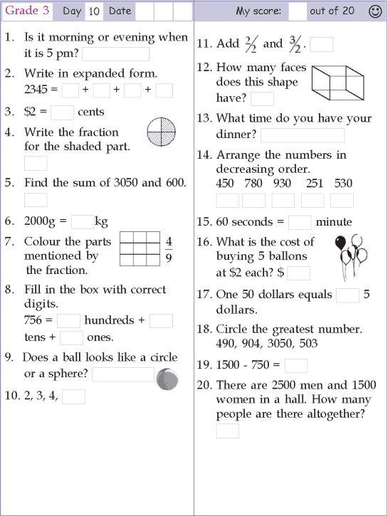 Mental Math Grade 2 Day 5 | mental maths worksheets | Pinterest ...