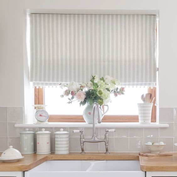 Country Blind Inspiration - Sea/Ivory Cambridge Stripe Blinds - creating the perfect laid back kitchen, perfect with ivory pom pom trim. Susie Watson Designs https://www.susiewatsondesigns.co.uk/sea-ivory-cambridge-stripe-308.html:
