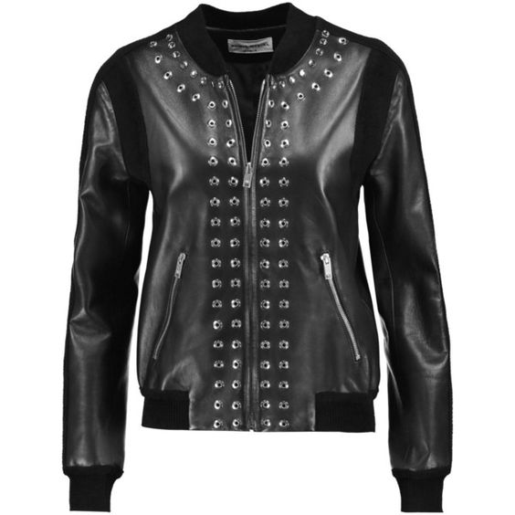 Sonia Rykiel Bouclé-paneled embellished leather jacket (€960) ❤ liked on Polyvore featuring outerwear, jackets, black, sonia rykiel, genuine leather jackets, sonia rykiel jacket, zipper leather jacket and leather jackets
