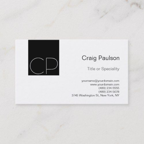 Simple Black White Monogram Business Card Zazzle Com Business Card Graphic Business Cards Creative Simple Business Cards