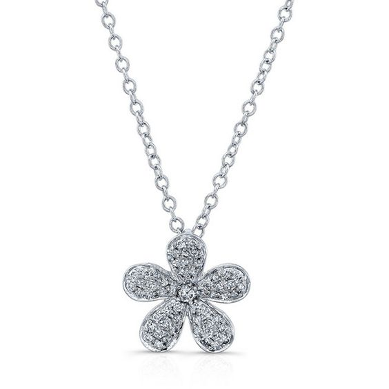 Anne Sisteron  14KT White Gold Diamond Flower Necklace (872,595 KRW) ❤ liked on Polyvore featuring jewelry, necklaces, white, diamond chain necklace, white necklaces, adjustable chain necklace, white gold jewellery and white gold flower necklace