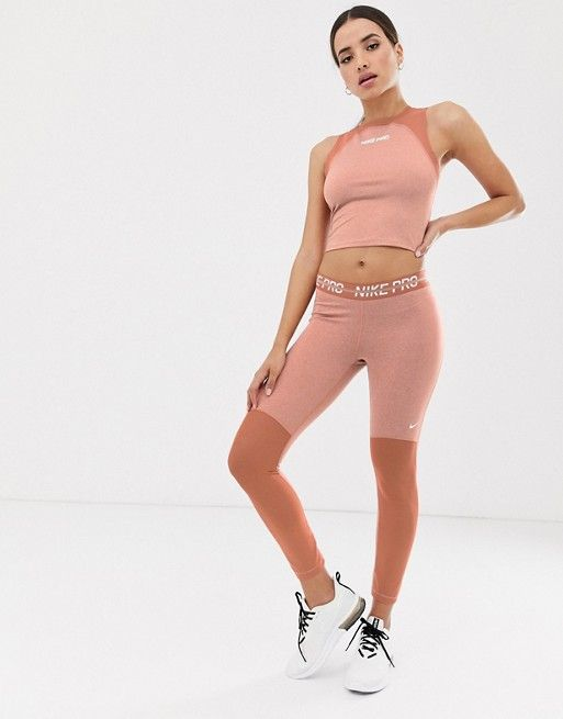 website for discount offer discounts big discount Nike Pro Training Heather Leggings In Rose Gold | Nike in ...