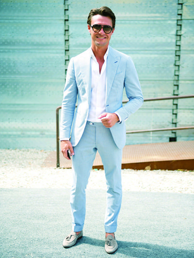 Pale blue suiting x light grey tassel loafers. | Men's Fashion