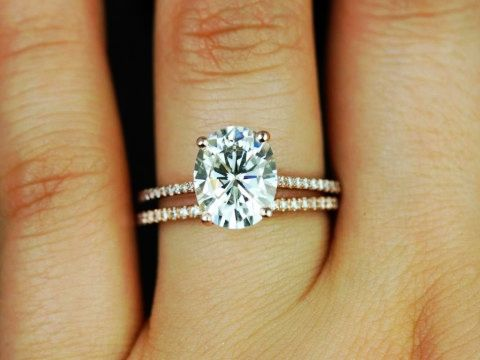 Blake 14kt Rose Gold Oval FB Moissanite and Diamonds Cathedral Wedding Set…