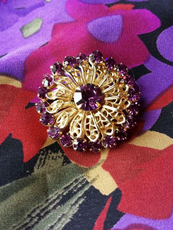 Vintage Amethyst Rhinestone Brooch in Jewelry & Watches, Vintage & Antique Jewelry, Costume | eBay
