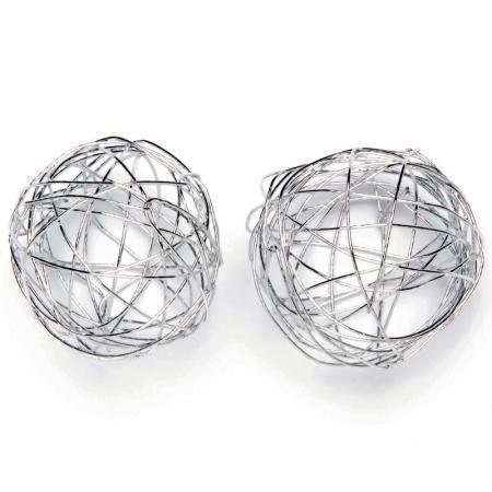 Boule en fil de fer moyenne Argent 3 cm - Lot de 6