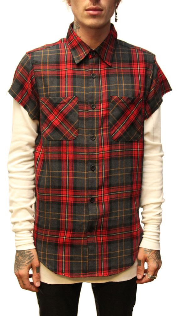Fear Of God Short Sleeve Flannel-Red Grey Plaid