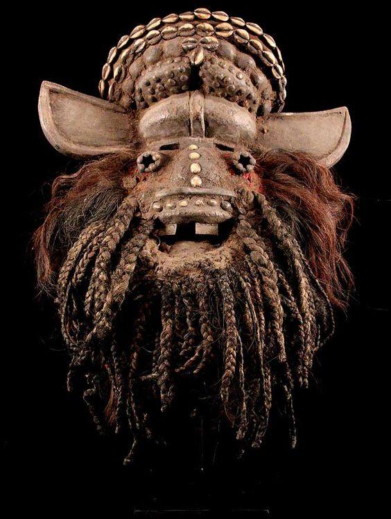 Ngere We mask  52 x 60 cm, wood, metal, hair, shells   via eBay