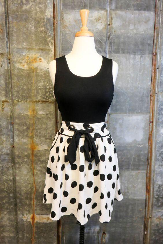little black polka dot dress
