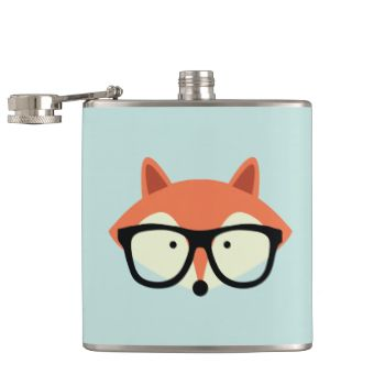 Adorable illustration of a cute red fox wearing a pair of oversized glasses. hipster