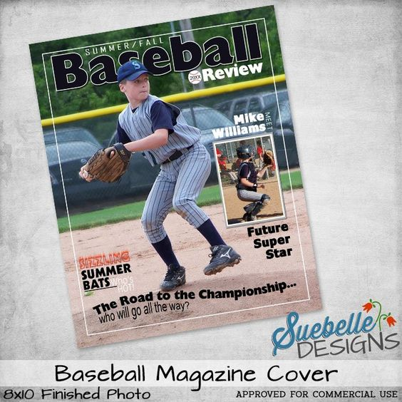 baseball magazine cover photoshop template photoshop template for