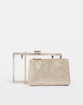 Clutch en forma de caja transparente con bolsa interior de purpurina de quita y pon de New Look