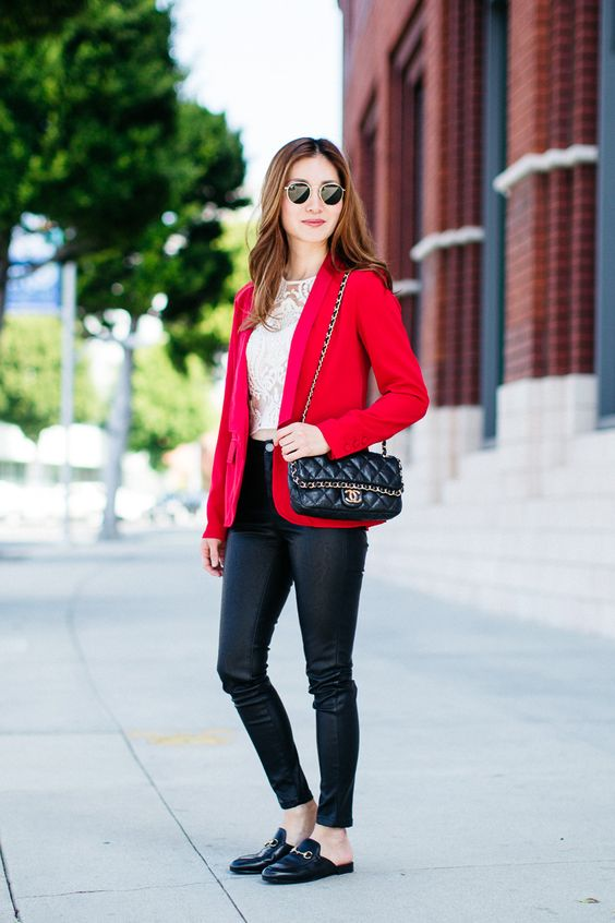 Outfit Ideas Style Inspiration Spring Fashion Red Blazer Chanel Flap Bag Faux Leather Pants ...