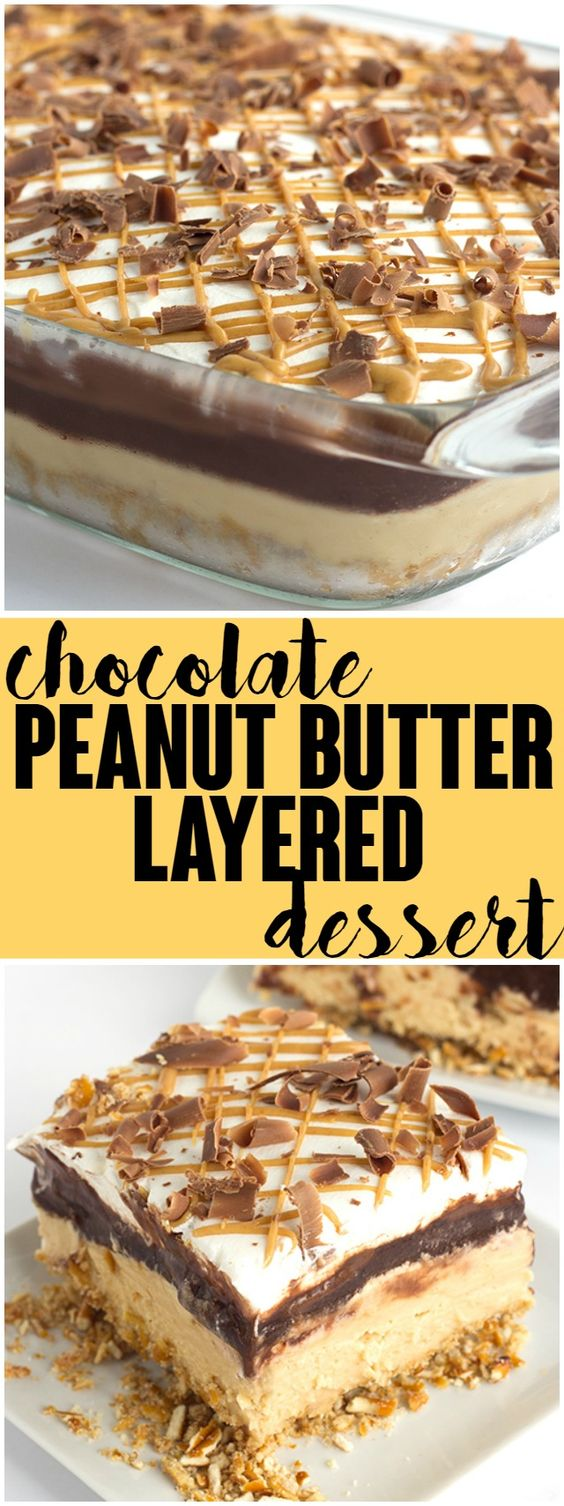 Need a dessert that will feed a crowd? This rich chocolate peanut butter layer dessert will do the trick. The sweet and salty pretzel crust is amazing!: