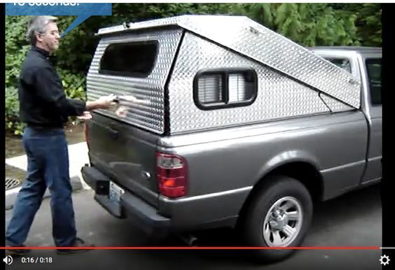 Cheap Truck Bed Covers >> Camper Conversion A creative Tonneau-style diamond plate steel truck bed cover pops up to reveal ...
