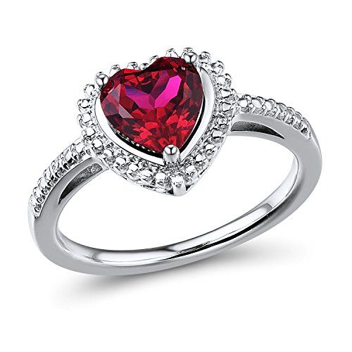 Ruby Heart Ring in Sterling Silver