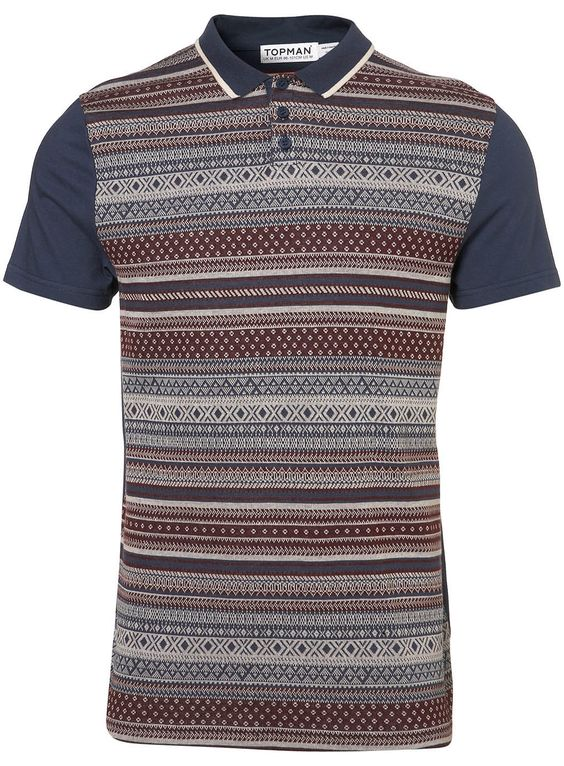 Burgundy Fairisle Tip Polo #Topman