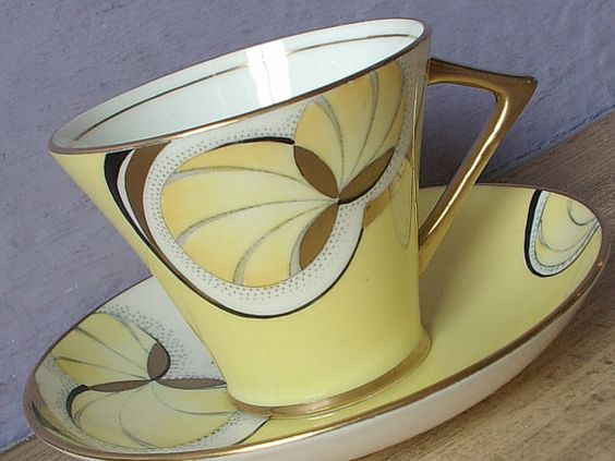 Vintage 1920's Art Deco Teacup and Saucer, Gladstone yellow tea cup, Antique teacup, English tea cup, Hand painted tea cup Bone china teacup