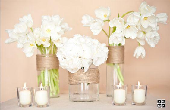 Simple centerpieces for Bridal Shower!