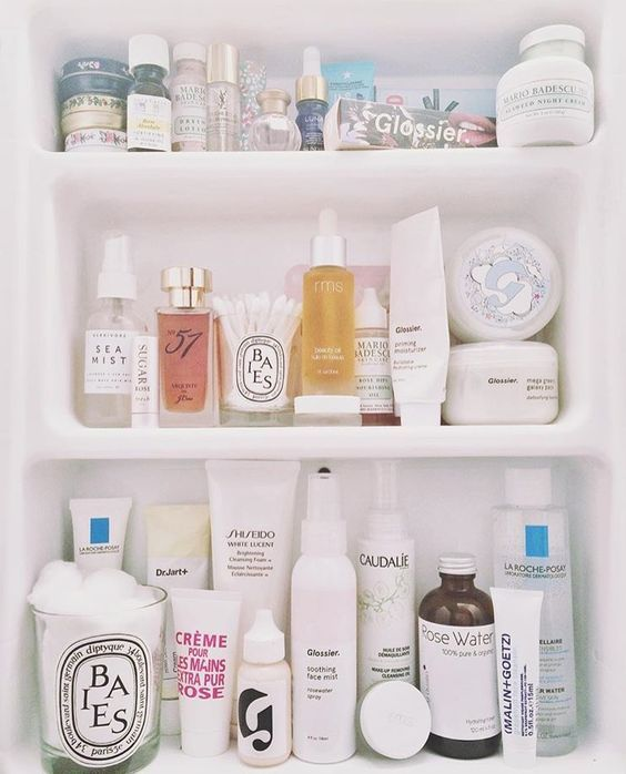 What S In My Beauty Cabinet Skincare Skin Care Collection Bathroom Essentials Diptique Baies Affordable Skin Care Skin Care Essentials Skin Care Collection
