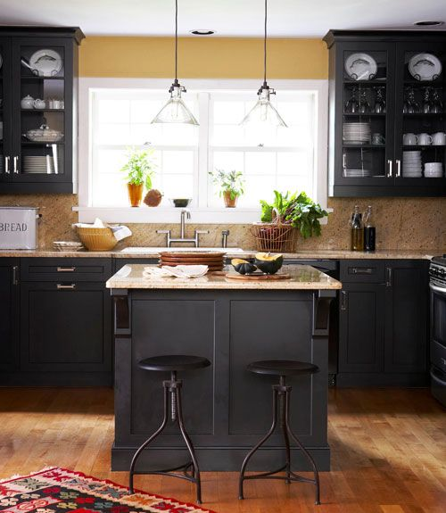 ♥/♥♥/ : Window-centered island : http://www.countryliving.com/homes/decor-ideas/kitchen-designs#slide-46: Wall Color, Black Cabinets, Kitchen Design, Kitchen Ideas