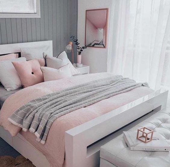Pink White And Grey Girl S Bedroom Pastel Bedroom Decor Inspiration Small Bedroom Ideas Bedroom Pink Bedroom Decor Pastel Bedroom Bedroom Decor Inspiration