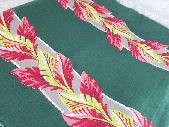 Vintage Barkcloth Era Art Deco Fabric - Green Chartreuse Gray Red Pink