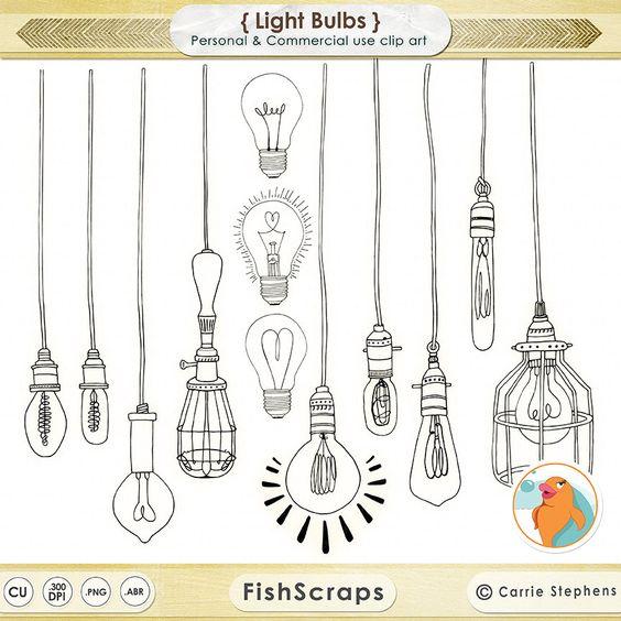 Bombilla Clip Art, ClipArt luz cadena, Vintage de boda Edison bombilla, sello…