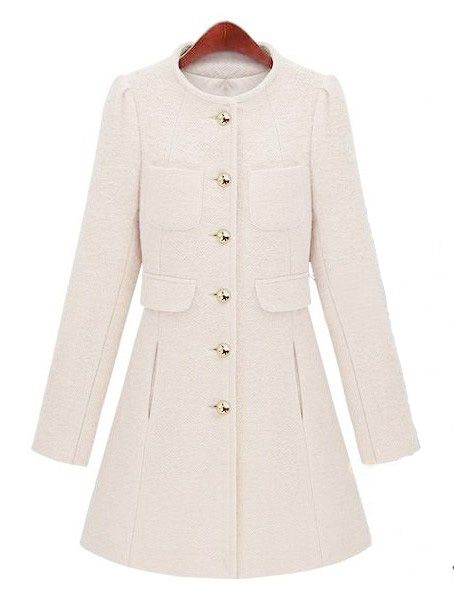 White Long Sleeve Single Breasted Pockets Coat