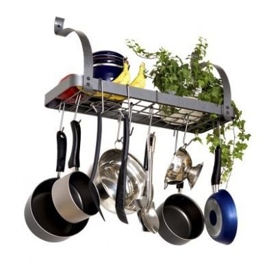 Keep your pots organised and out of the way with this elegant steel Enclume Rack It Up Pot Rack. It comes with mounting hardware, 8 hooks for hanging pots and a mesh shelf for additional storage.Includes: Installation Instructions, Mounting HardwareFeatures: Additional Storage, 8 HooksMaterial: SteelFinish: MatteMount Type: CeilingCare and Cleaning: Wipe Clean With a Damp Cloth