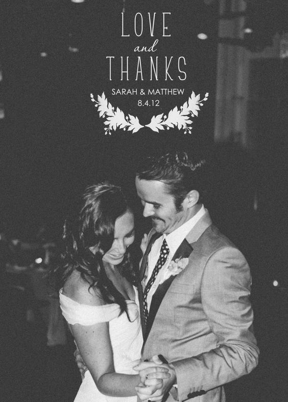 Wedding Thank You Card Love and Thanks – Custom Photo Thank You Cards Wedding