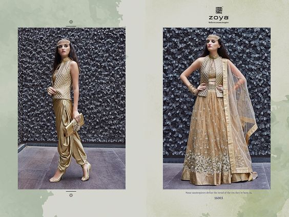Designed by Zoya...this ensemble of Indo Western styling will surely make you stand out in the crowd this Ramadan Brownie points....U get to choose which look you would like to carry for the day...  Two styling options available...  Specs:  Top: Heavy Georgette  Bottom: Fancy Fabric  Dupatta: Net  Work: Heavy Embroidery  Available for INR 5200 only!!   For details contact us @ +91 7227076777  Visit our website to check out the latest trendz in indian ethnic clothing:  www.ethnicjunction.com