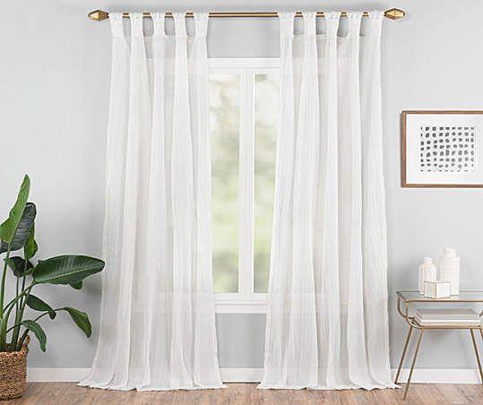 Vue Signature Priya White Semi Sheer Tab Top Curtain Panel 63 In 2021 White Paneling Curtains Living Room White Sheer Curtains White sheer tab top curtains