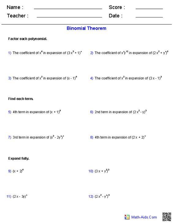 Worksheets Binomial Theorem Worksheet collection of binomial theorem worksheet sharebrowse the worksheets math aids com pinterest