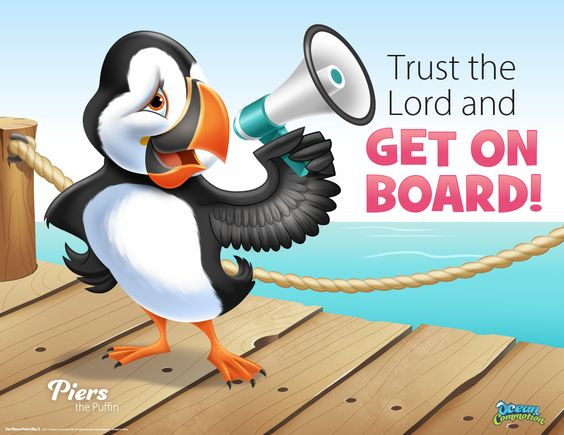 Day 3 at Ocean Commotion, Piers the puffin lets kids know they need to trust the Lord and get on board! This is the day you'll present the full gospel beginning in Genesis. Just like Noah who got on board the Ark with his family and was saved from the watery judgment, we can rely on God to help us trust Him with our lives and our eternal salvation through repentance and faith in Jesus Christ. #vbs2016