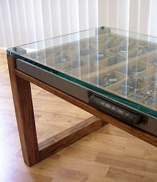 Letterpress drawer table- cool and easy to change the stuff inside