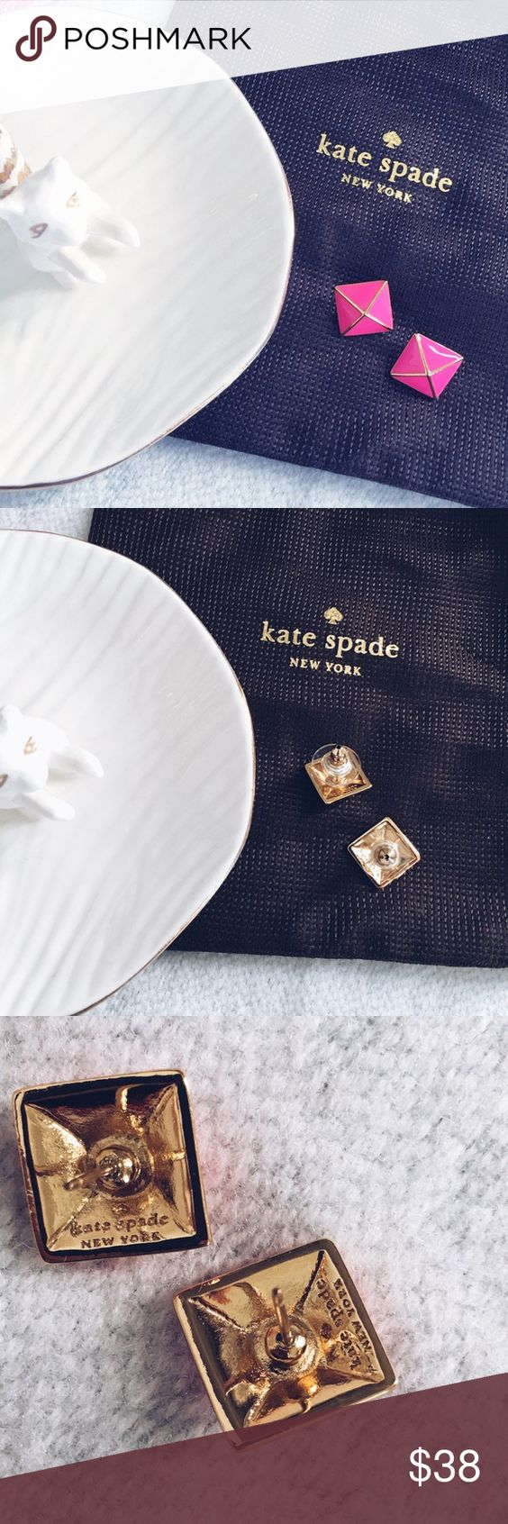 •Kate Spade• pink pyramid earrings Street meets chic in these striking pyramid stud earrings from kate spade new york. Crafted in gold plated mixed metal with enamel accents. Perfect to wear day or night! Measures 1/2 inch. Never worn! Authentic! Will come with KS dust bag 📷 last photo from KS website all other pictures are my own📷 Kate Spade Jewelry Earrings