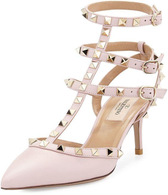 Valentino Rockstud Leather Mid-Heel Slingback, Pink Valentino ...