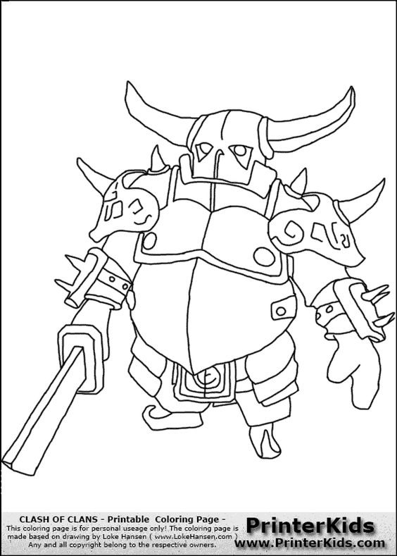 Clash Of Clans Coloring Pages Pdf : Clash of clans p e k a coloring page