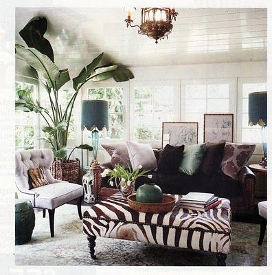 furniture pieces: Zebra Ottoman, Decorating Idea, Coffee Table, Livingroom, Living Room, Houseplant
